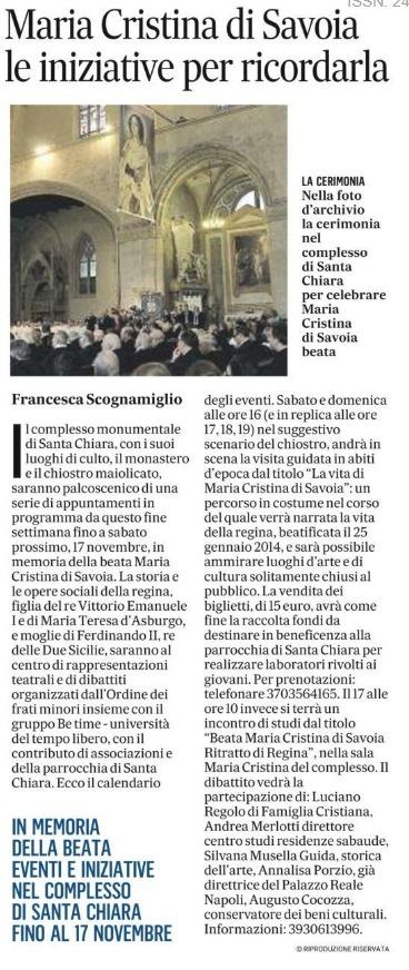 """L'articolo de Il Mattino su Maria Cristina di Savoia """"in scena"""" nel magnifico Chiostro di Santa Chiara"""