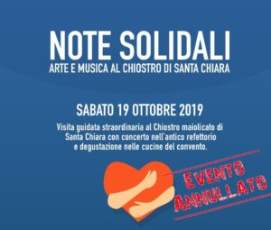 Chiostro Solidale, EVENTO ANNULLATO [Comunicato Stampa]