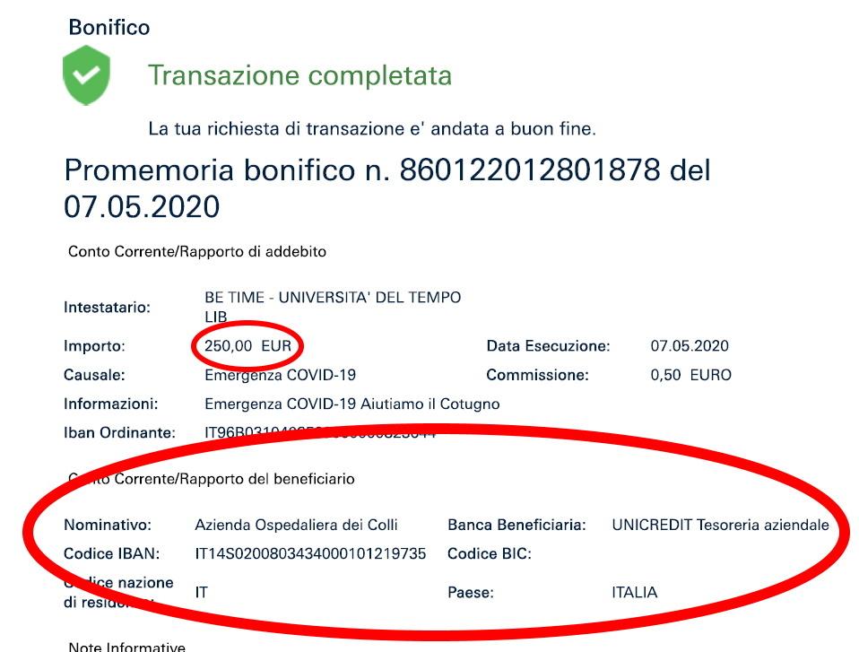 Ospedale Cotugno di Napoli: il bonifico BeTime